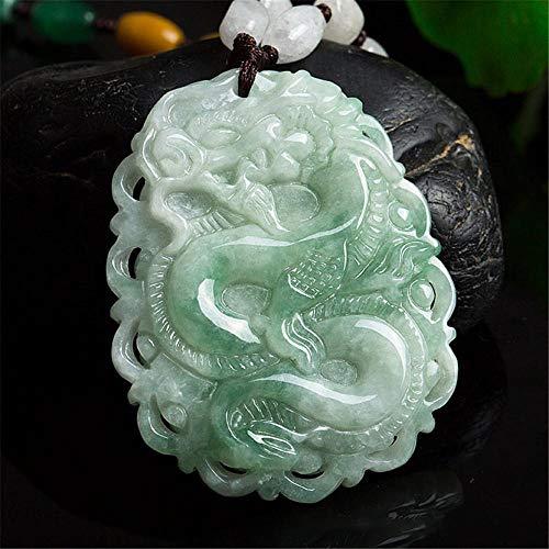 TFTHG Colgante de dragón de jadeíta Real Collar Tallado a Mano para Hombres o Mujeres Amuleto Zodiaco dragón Regalos con Colgante de Jade