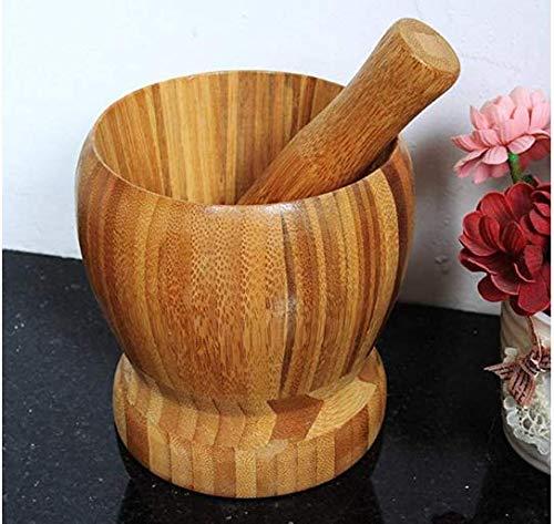 HYDO 1 x Bambus-Stößel und Mörser aus Holz für Gewürze, Pfeffer, Knoblauchpresse, Küchengeschirr, Haushaltsprodukte