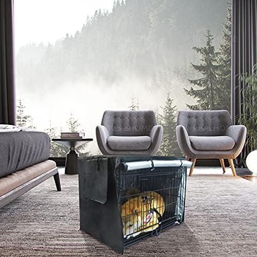 Uranbee Housse pour Cage Chien, Housse de Niche pour Animal Domestique, Durable et Coupe-Vent, pour Cage Métallique Intérieure et Extérieure (L: 109 x 74 x 76 cm, Noir)