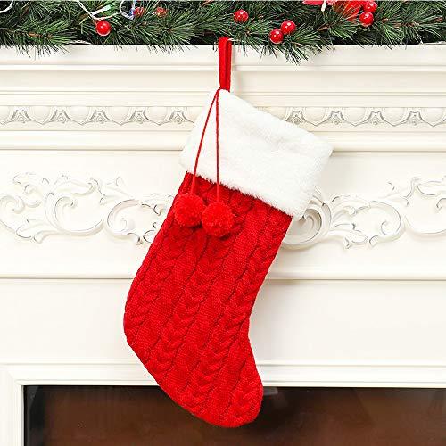 通用 Yizunnu Medias de Navidad Bolsa de caramelo de lana tejida a mano Calcetines gruesos dulces regalos bolsas grandes 40x22cm (rojo)