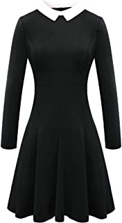 For G and PL Halloween Women's Wednesday Addams Peter Pan Collar Flare Skater Dress
