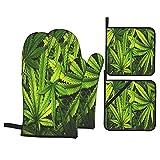 ASNIVI Guantes y agarraderas para Horno, Textura de Cannabis Fondo de Pila de Hojas de Marihuana con Estilo Plano Vintage,Guantes Resistentes al Calor Guantes aislantes ,adecuados para cocinar