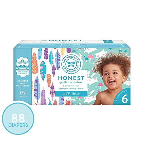 The Honest Company Super Club Box Diapers - Size 6 - Painted Feathers & Bunnies Print | TrueAbsorb Technology | Eco-Friendly with Plant-Derived Materials | Hypoallergenic | 88 Count