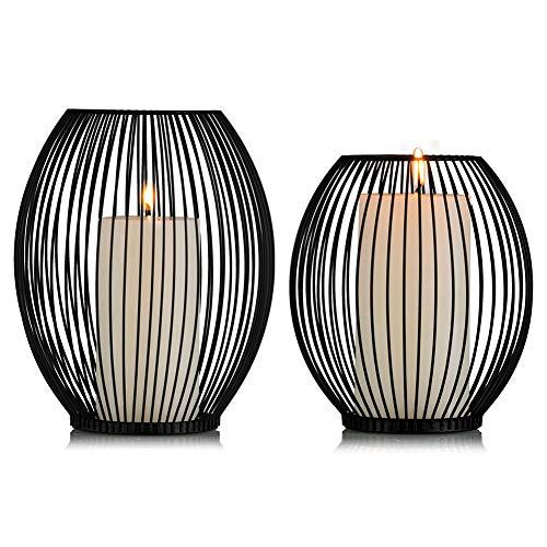 Sziqiqi Oval Kerzenständer Schwarz Metall 2er Set, 16 x 18cm und 18.5 x 23cm Moderner Kerzenhalter Stabkerzen, Romantische Hochzeit Kreative Kerzenständer, Romantisches Abendessen Haus Deko