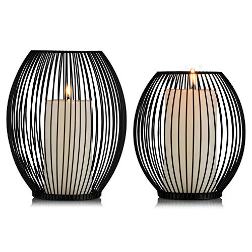 Sziqiqi Lanterne Decorative in Metallo Nero con Portacandele, Portacandele a Colonna in Ferro,...