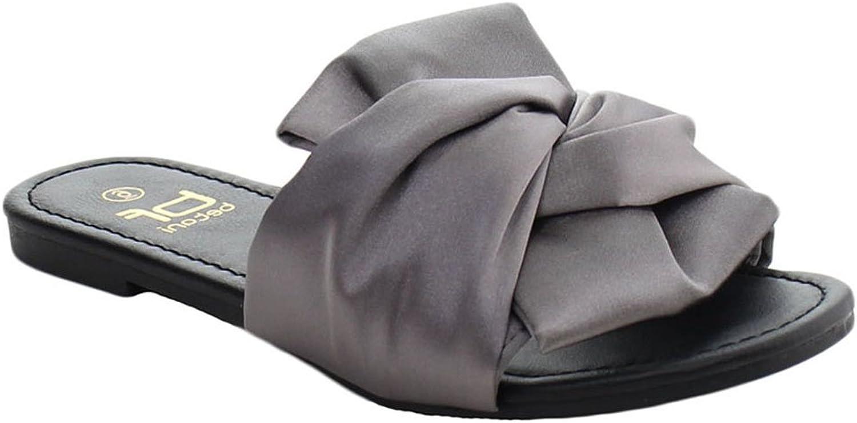 BETANI EL79 Women's Bow Easy Slip On Knot Backless Flat Sandals