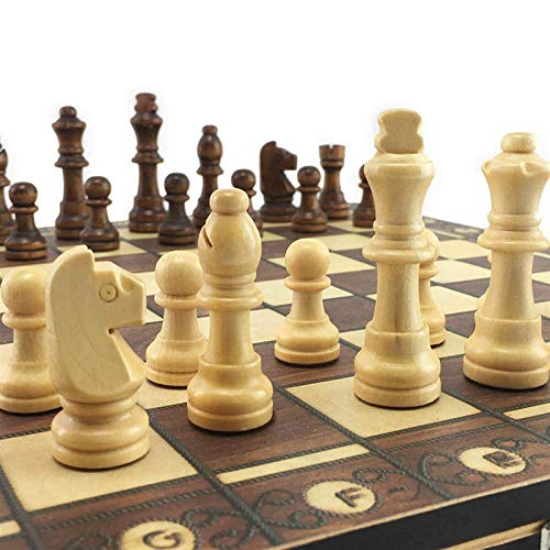 Aocean Ajedrez de Madera súper magnético, Damas de Backgammon, Juego de ajedrez 3 en 1, ajedrez Antiguo, Juego de ajedrez de Viaje, Pieza de ajedrez de Madera, Tablero de ajedrez