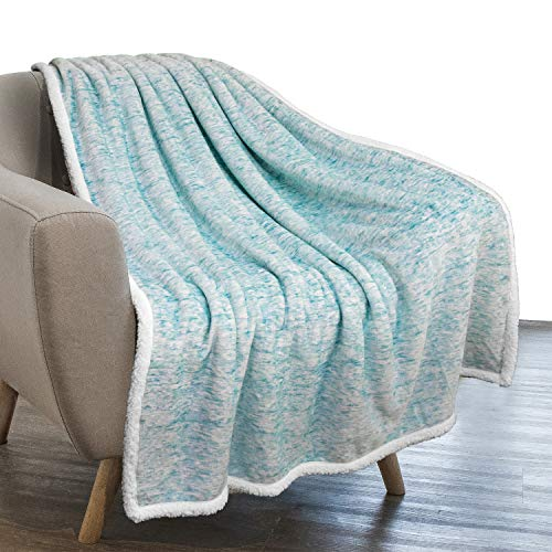 PAVILIA Melange Sherpa Blanket Throw Sea Blue Turquoise | Soft, Fluffy, Microfiber Fleece Blanket for Couch Sofa | Warm Fuzzy Luxury Modern Plush Blanket,50x60 Inches