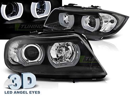 Shop Import Paire de Feux phares - Serie 3 E90/E91 05-08 Angel Eyes LED 3D Noir (MI4)