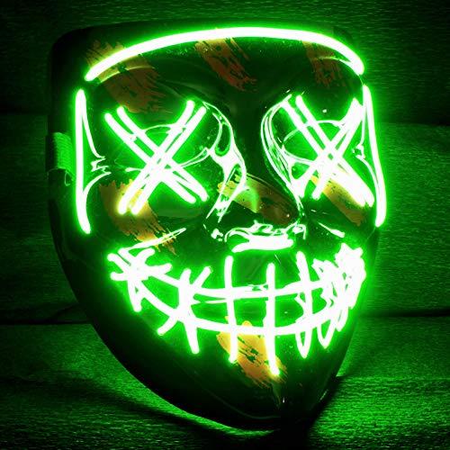 Balinco LED Purge Maske mit 3 Blitzmodi - perfekt geeignet als Techno DJ | Halloween | Karneval | Fasching als Ergänzung zum Horror Kostüm (Neon Grün)