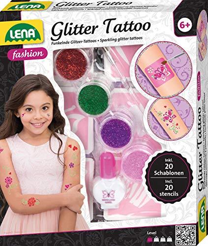 Lena 42440 Fashion Glitter Tattoo, Mode Set zum Stylen und Schmücken mit 4 Glitzerfarben, Pinsel, Latex und zehn Schablonen, abwaschbarer Körperschmuck für Mädchen ab 6 Jahre, Bunt