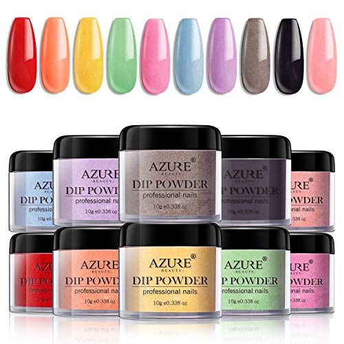 Dip Powder Nail Set for Nail Art 10 Fruity Colors Collection,Dip Powders Nails for French Nail Manicure Nail Art Set Essential Set No UV/LED Nail Lamp Needed