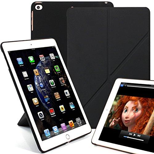 KHOMO iPad 9.7 Origami Hülle Hülle 2018, 2017, Air 1 Gehäuse mit Doppeltem Schutz Ultra Dunn & Super Leicht Smart Cover Schutzhülle für iPad 9.7 2018, 2017 - Schwarz