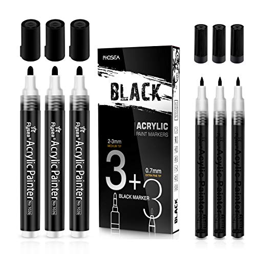Black Acrylic Paint pens (6 Pack) Variety Pack - Extra Fine 0.7MM & Medium Tip 2-3MM - Water Based Paint Markers for Rock Painting, Stone, Ceramic, Glass, Wood, Canvas (BLACK)