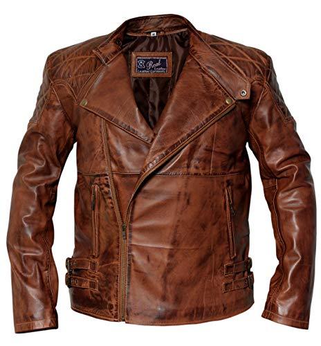 Retor Vintage Distressed Slim Fit Black Biker Real Leather Jacket (M)
