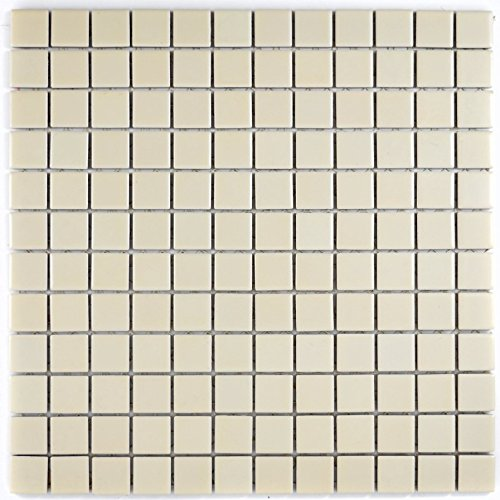 Mosaik Fliese Keramik beige matt für BODEN WAND BAD WC DUSCHE KÜCHE FLIESENSPIEGEL THEKENVERKLEIDUNG BADEWANNENVERKLEIDUNG Mosaikmatte Mosaikplatte 1 Matte