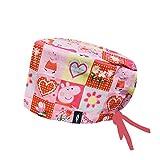 Modelo: Peppa Pig Pink - Estampado-Gorro de Quirófano ROBIN HAT- Pelo Largo- Ajustable- 100% -algodón (Autoclave)