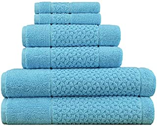Hardwick 6 Piece Turkish Cotton Luxury Towel Set - Thick and Absorbent Sculpted Jacquard Towel Set Made with 100% Turkish ...