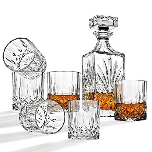 JOLIGAEA 7 Pezzi Bottiglie e Bicchieri Whisky Decanter, Caraffa Whisky con Bicchiere da Whiskey Set, 700ml Bottiglia con 6x 220ml Bicchieri, per Whisky per Vino, Borbone
