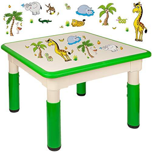 alles-meine.de GmbH Kindertisch / Tisch - höhenverstellbar - Größen & Motiv & Farbwahl - Zootiere & Giraffe / grün - 1 bis 8 Jahre - Plastik - für INNEN & AUßEN - Kindermöbel - f..