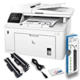 Hewlett Packard Laserjet Pro MFP M227fdw Wireless Laser All-in-One Monochrome Printer with Power Strip Surge Protector + Electronics Basket Microfiber Cleaning Cloth