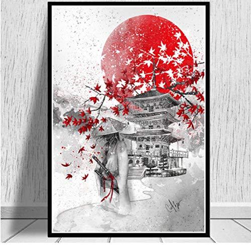YIGUBIGU Póster e Impresiones Hot Japanese Zen Ink Bushido Samurai Kanji Canvas Art Pintura al óleo Cuadros de Pared para decoración de Sala de Estar 50 * 70 cm sin Marco