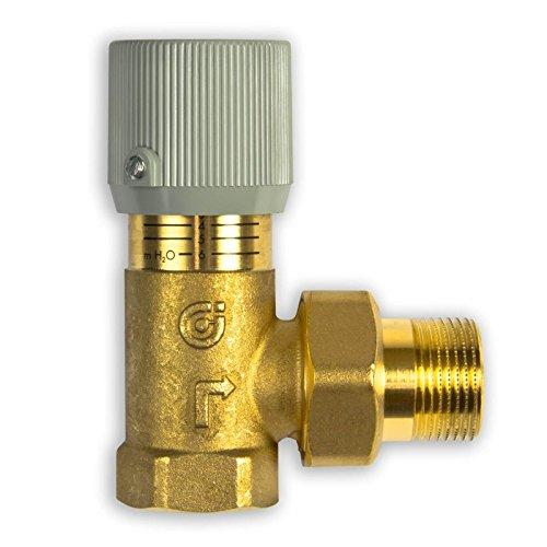 Caleffi 519500 Differenzdruck-Überströmventil 3/4 Zoll Einstellbar mit Skala, Messing Gehäuse