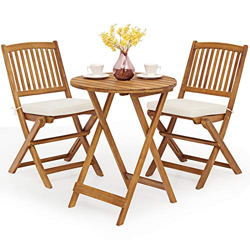 COSTWAY 3 Piece Folding Patio Bistro Set, Acacia Wood Table and Chairs with Cushions, Outdoor Dining Furniture Set for Balcony, Garden and Poolside (Cream)