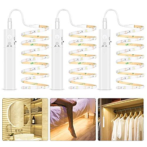 Tira Luz Cuerda, 3M Tira de Luces LED con Sensor de Movimiento, Luz Armario, Luz LED Nocturna Pilas, Decoración Iluminación para Dormitorios, Cocina, Escaleras, Baño, Pasillo, 3000K Blanca Cálida