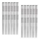 Hiware 12-Pairs Reusable Metal Chopsticks - Stainless Steel Spiral Chopstick Set, Dishwasher Safe, 9 Inch