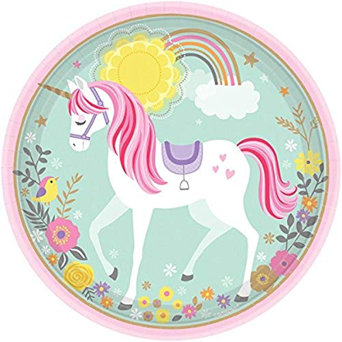 Amscan 551929 - Platos de papel para cena, diseño de unicornio mágico
