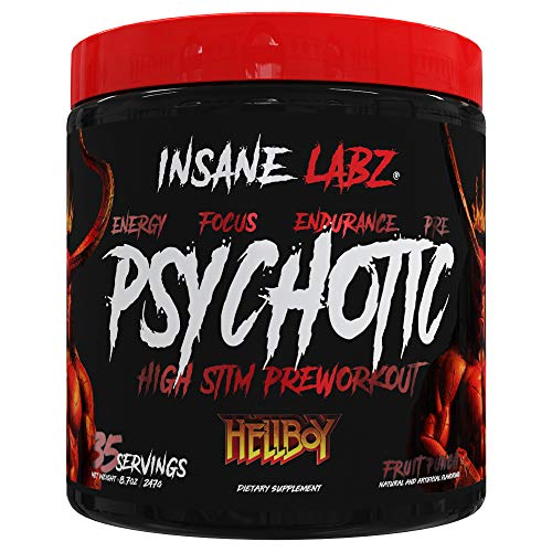 Insane Labz Hellboy Edition, High Stimulant Pre Workout Powder and NO Booster with Beta Alanine, L Citrulline, and Caffeine, Boosts Focus, Energy, Endurance, Nitric Oxide Levels, 35 Srvgs