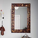 Crackle Embossed Glass Mosaic Tile Decorative Accent Mounted Wall Mirror in Rectangular shapes with wood Backing for Living room Bedroom or Vanity Bathroom Hangs Horizontal & Vertical (28'x36')