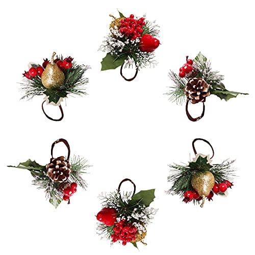 Yeekg - Set di 6 portatovaglioli natalizi ad ago in pino con pigne, schiuma pera e mela, portatovaglioli per Natale, inverno, vacanze, cena, decorazione da tavola
