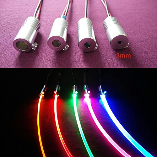 1.5W DC 12V car home light side glow fiber optic light source illuminator 3MM White