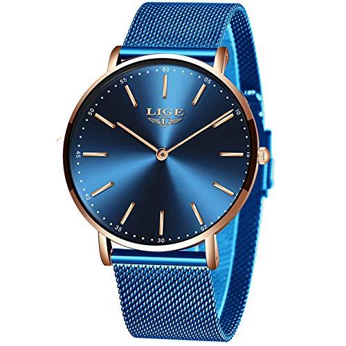 LIGE Herren Uhren Mode Wasserdicht Sport Analoger Quarz Uhr Beiläufig Ultra-Thin Dial Schwarze Edelstahl Mesh Armbanduhr Maenner (Goldblau)