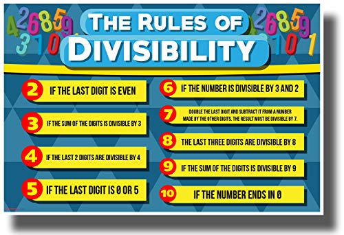 PosterEnvy Divisibility Rules New Classroom Math Science Algebra Poster