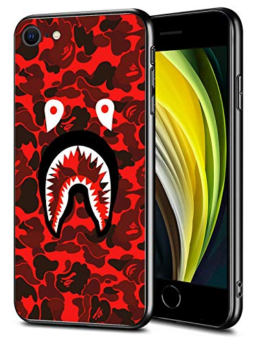 iPhone SE 2020 iPhone 8 iPhone 7 Case, Shark Face Slim Thin Protective Cover Phone Case for iPhone SE 2020/8/7 (4.7 inch) (Red-Camo-Bape)