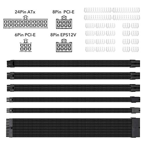 Clovertale Braided ATX Sleeved Cable Extension Kit for Power Supply Cable Kit, PSU Connectors, 24 Pin, 8 Pin, 6 Pin 4 + 4 Pin, 6 Pack, with Cable Comb 24 Pieces Set 24-Pin, 8-Pin, 6-Pin (Black)