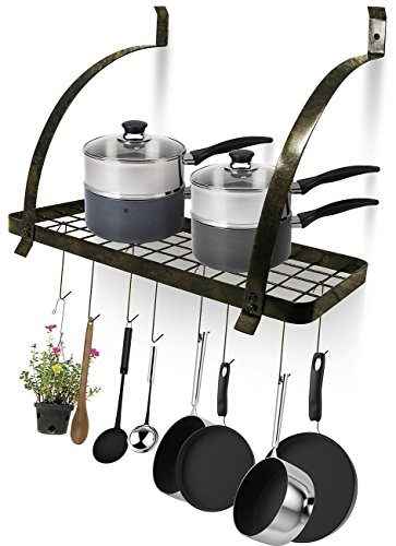 Sorbus Kitchen Wall Pot Rack with Hooks — Decorative Wall Mounted Storage Rack — MultiPurpose Shelf Organizer Great for Kitchen Cookware Utensils Pans Books Household Items Bathroom Rustic
