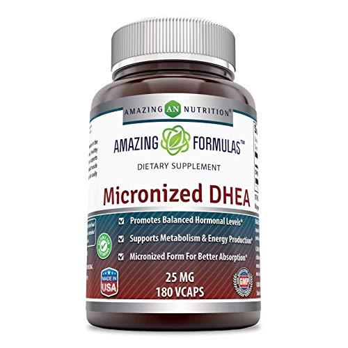 Amazing Formulas Micronized DHEA Dietary Supplement - 25mg Pure - 180 Capsules Per Bottle (Non-GMO,Gluten Free) - Dehydroepiandrosterone Vitamin Capsules for Men & Women