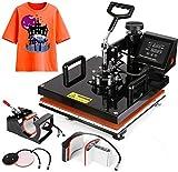 15'x15' TUSY Heat Press Machine Pro 5 in 1 Heat Transfer Press Machine Swing Away 360 Degree Rotation Digital Industrial Sublimation Printing for T-Shirt/Hat/Mug/Plate