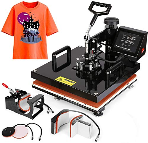 "15""x15"" TUSY Heat Press Machine Pro 5 in 1 Heat Transfer Press Machine Swing Away 360 Degree Rotation Digital Industrial Sublimation Printing for T-Shirt/Hat/Mug/Plate"