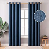MIULEE Thermal Insulated Linen Curtain 2 Panels for Living Room Darkening Farmhouse Grommet Textured Window Blackout Drape Light Block Out for Bedroom W 52 x L 96 Inches Navy Blue