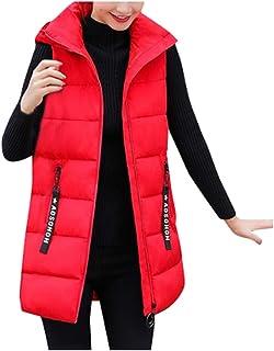 Reooly, Chaqueta de Moda para Mujer Chaqueta sin Mangas con Capucha Algodón Color sólido Cremallera Bolsillo Cuello Alto(Rojo,Large)