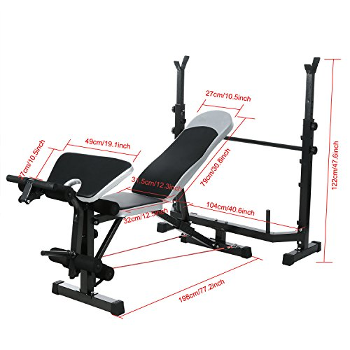 OppsDecor Strength Training Olympic Weight Benches for Full Body Workout - Adjustable Olympic Weight Bench for Indoor Exercise(US Stock) (Dark Black)