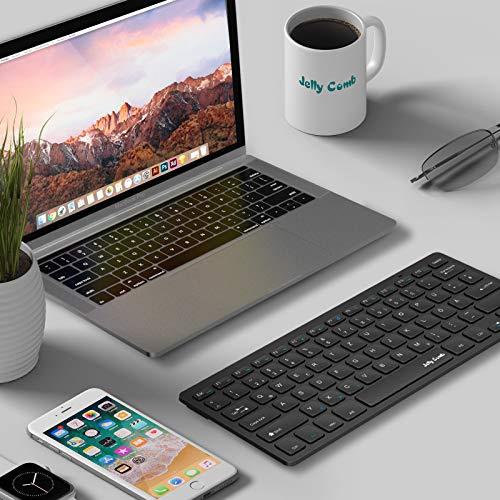 Jelly Comb 2.4G Funktastatur, Wireless Kabellose Schnurlose Tastatur für PC, Laptop, Smart TV, QWERTZ Deutsches Layout, Schwarz
