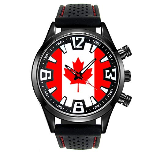 Timest - Canada - Bandiera del Paese - Orologio da Uomo Cinturino in Silicone nero Analogico al quarzo SF037