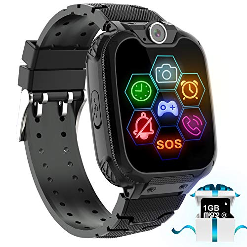 "Kids Game Smart Watch Phone - 1.54"" Touch Screen Game Smartwatches with [1GB Micro SD Card] Call SOS Camera 7 Games Alarm Clock Music Player Record for Children Boys Girls for 4-12 Years (Black)"