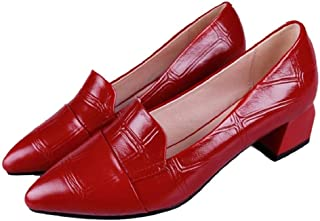 THE LONDON STORE Women's Black & Red Low-Heeled Patent Leather Pumps Shoes